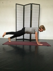 Lucy in one legged plank pose